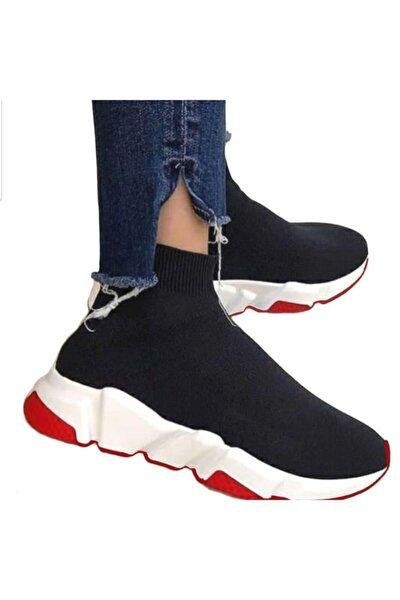Unisex Siyah Çoraplı Kırmızı Beyaz Taban Sneakers Ayakkabı