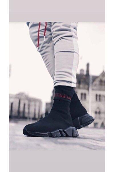 Unisex Siyah Çorap Siyah Taban Sneakers Ayakkabı