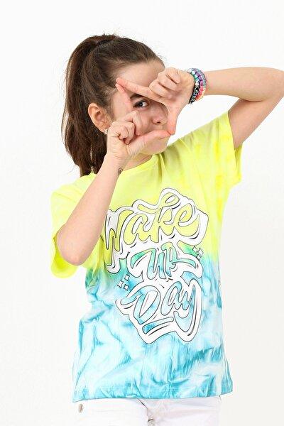 Kırz Çocuk Turkuaz-Sarı  Yarasa Kol Batik T-shirt