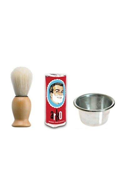 Sakal Fırçası + Arko Sabun + Köpürtme Tası Tıraş Seti