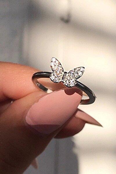Beyaz Kelebek 14k Motifli Minimal Ayarlanabilir Ölçü Kadın Yüzük