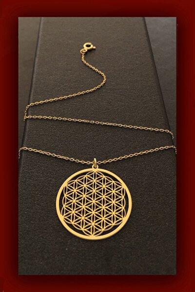 Yaşam Çiçeği Gold Gümüş Kadın Kolye
