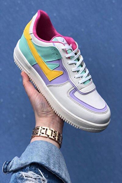 Kadın Beyaz&Lila&Sarı Spor Ayakkabı&Sneaker INA100