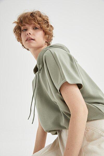 Basic Kapüşonlu Oversize Fit Kısa Kollu Sweatshirt