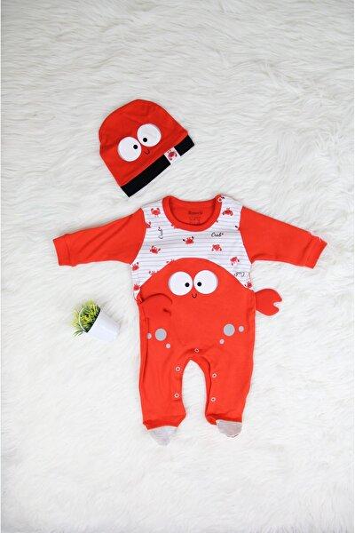 Yengeç Desenli Şapkalı Alttan Çıtçıtlı Bebek Tulum / Uyku Tulumu ( 0-12 Ay )