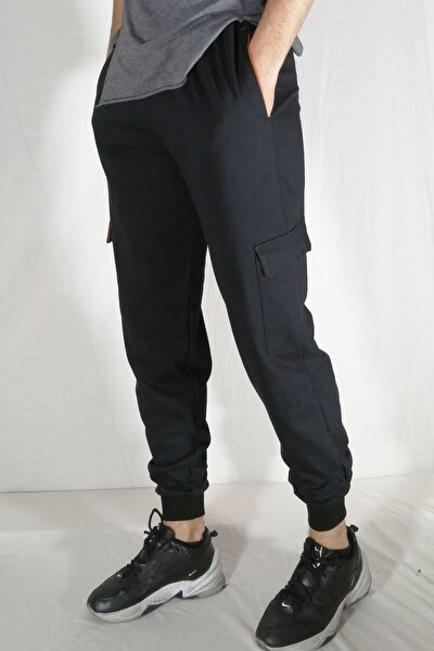 Erkek Siyah Kargo Cepli Pantolon