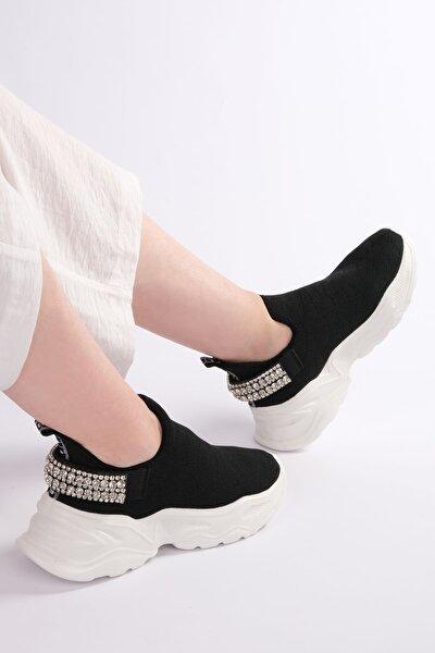 Kadın Siyah Sneaker Dolgu Topuk Çorap Spor Ayakkabı Dizva