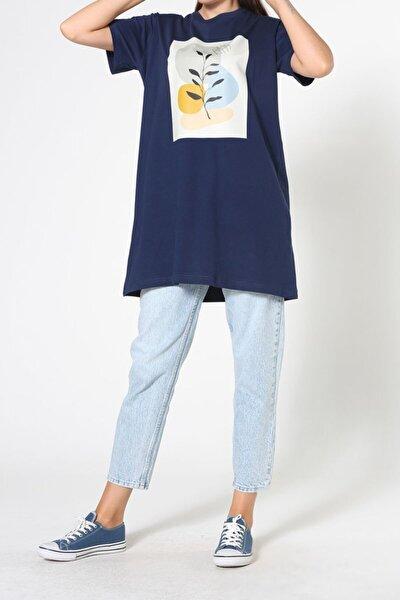 Kadın Lacivert Baskılı Kısa Kol T-shirt