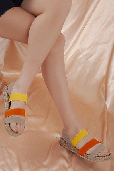 Kadın Sarı Şeritli Sandalet D0035