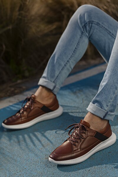 Erkek Taba Hakiki Deri Ayakkabı D1050