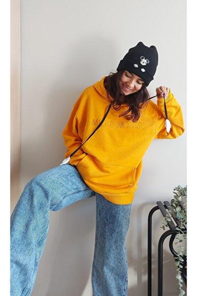 Unisex Sarı Mickey Mouse Yazılı Kapüşonlu İpli Sweatshirt