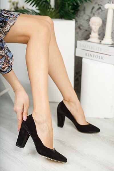 Siyah Süet Kadın Klasik Topuklu Ayakkabı DPRGZHWY707