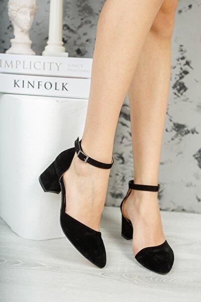 Siyah Süet Kadın Klasik Topuklu Ayakkabı DPRGZHWD708