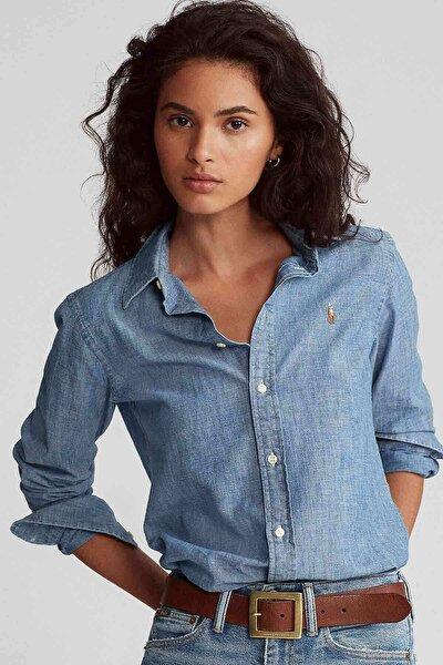 Kadın Mavi Classic Fit Gömlek