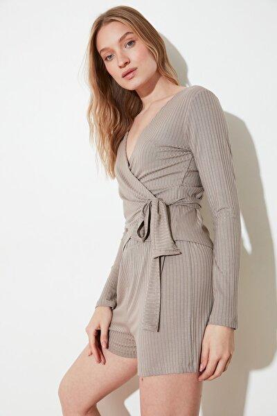 Vizon Bağlama Detaylı Örme Pijama Takımı THMSS21PT0267