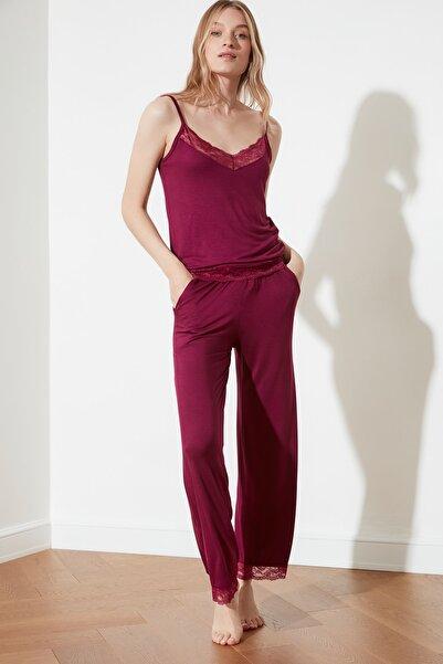 Mürdüm Dantelli Viskon Örme Pijama Takımı THMSS20PT0134