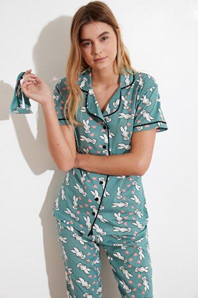Mint Baskılı Örme Pijama Takımı THMSS21PT0879