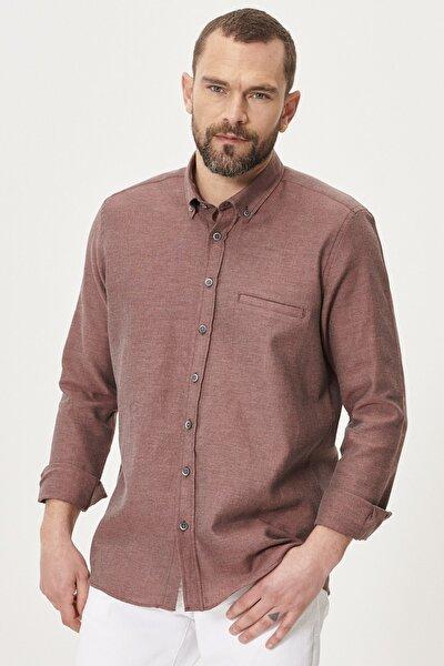 Erkek Bordo Tailored Slim Fit Dar Kesim Düğmeli Yaka Kışlık Gömlek