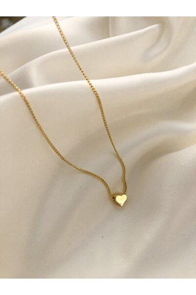 Kadın Sarı Mini Kalp Kolye