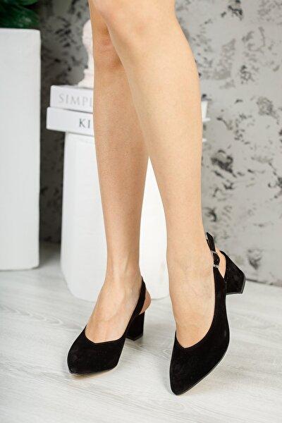 Kadın Siyah Süet Topuklu Ayakkabı
