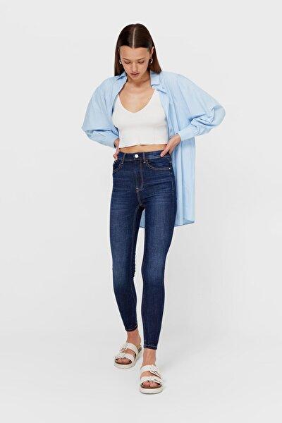 Kadın Mavi Yüksek Bel Skinny Jean 01400500