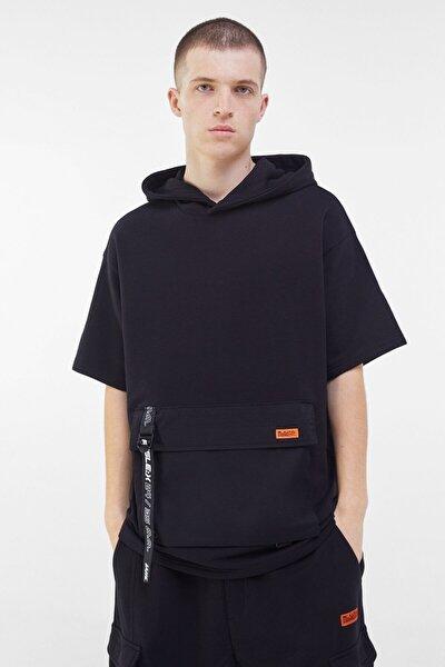 Erkek Siyah Penye Kapüşonlu T-Shirt 01909461