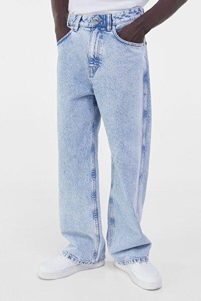 Erkek Açık Mavi Soluk Efektli Baggy Jean 00293665