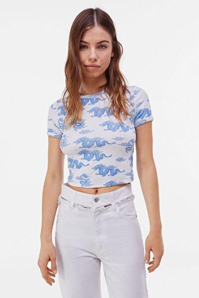 Kadın Açık Mavi Kısa Kollu Desenli T-Shirt 02198443