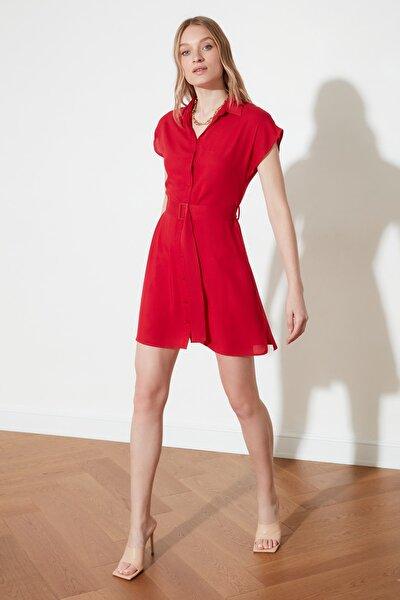 Kırmızı Kemerli Gömlek Elbise TWOSS19EL0151