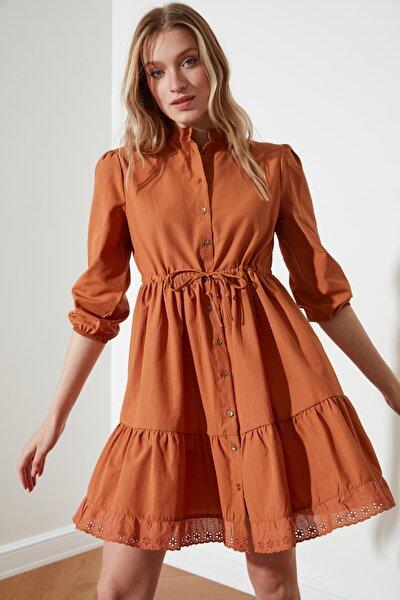 Camel Bağlamalı Gömlek Elbise TWOSS21EL0581