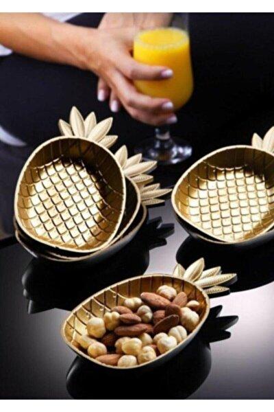 6'lı Gold Ananas Çerezlik Sunumluk Servislik