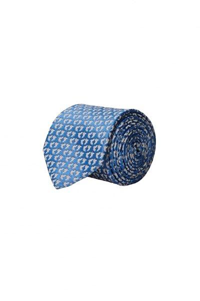 Erkek Mavi Desenli Klasik Su Geçirmez Nano Kravat