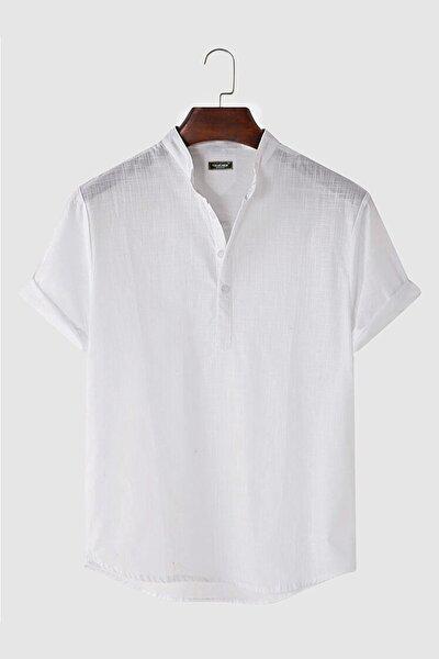 Erkek Beyaz Hakim Yaka Kısa Kollu Yarım Patlı Keten Gömlek