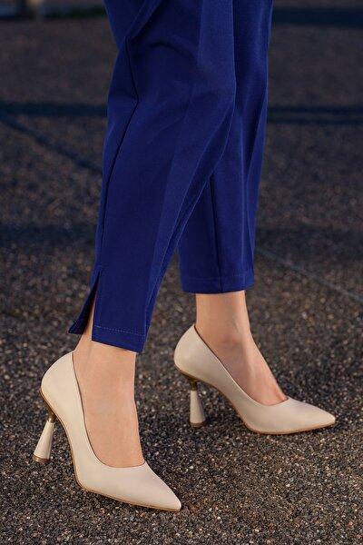 Kadın Bej Günlük Klasik Topuklu Ayakkabı D2053