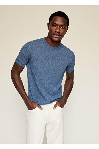 Erkek Mavi Keten-pamuk Karışımlı Tişört