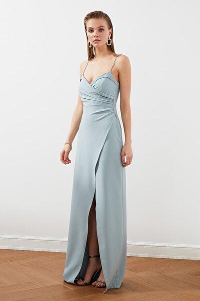 Gri-Mint Yaka Detaylı Abiye & Mezuniyet Elbisesi TPRSS21AE0045