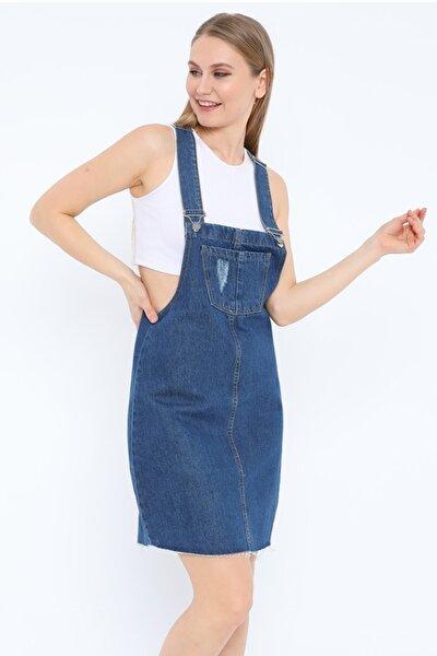 Kadın Kısa Koyu Mavi Salopet Kot Elbise