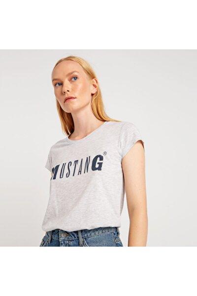 Kadın Basic Baskılı T-shirt Gri Melanj