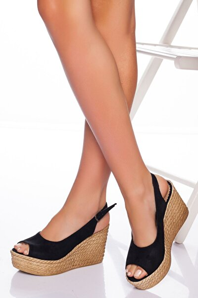 Lewis Dolgu Topuklu Ayakkabı-siyah Süet-lzt0535
