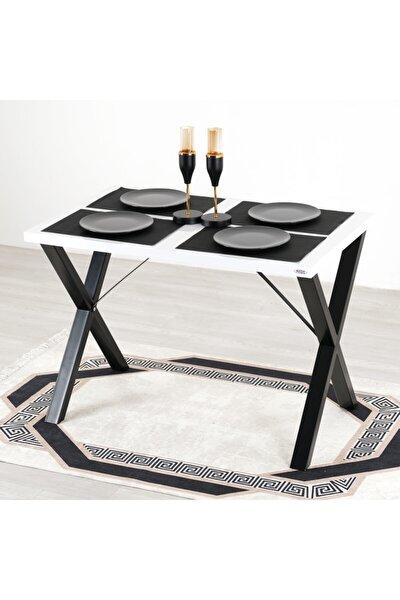 Woody Metal Ayaklı Beyaz Mutfak Masası