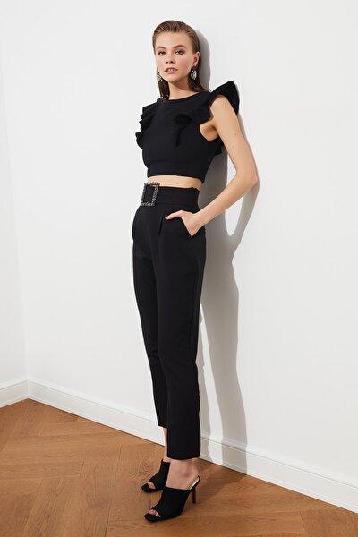 Siyah Taş Kemerli  Pantolon TPRAW20PL0168
