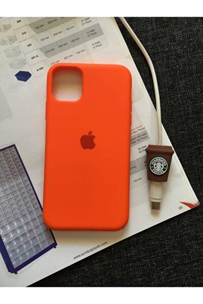 Iphone 11 Uyumlu Logolu Lansman Kılıf+kablo Koruyucu