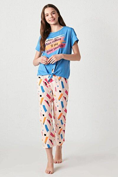 Kadın Mavi Pijama Takımı