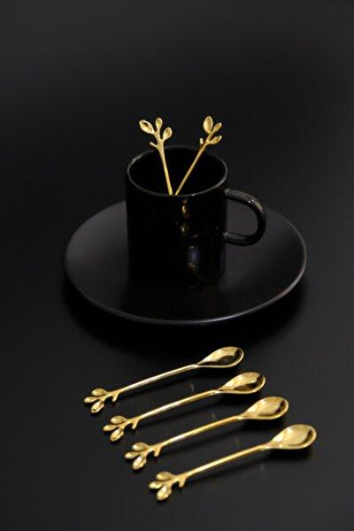 6 Kişilik Lüx Çay Kaşığı Gold Zeytin Dalı