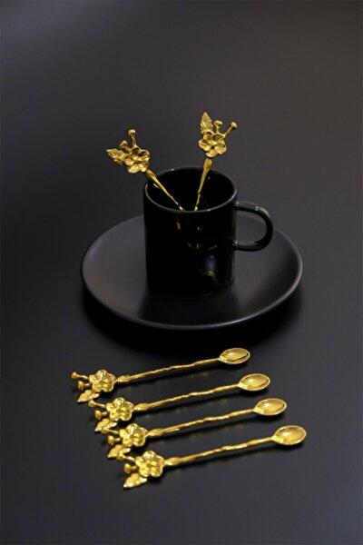 6 Kişilik Lüx Çay Kaşığı Gold Japon Gülü