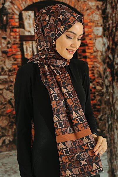 Kadın Kahverengi Desenli Pamuk Şal
