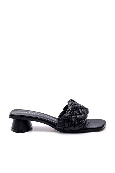 Marwa Siyah Kadın Topuklu Terlik