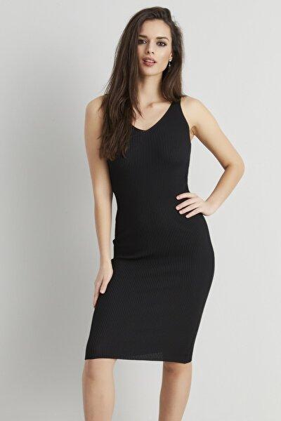 Kadın Siyah Triko Basic Elbise NUV03