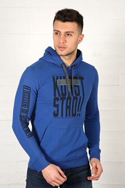Erkek Saks Mavi Baskılı Kapüşonlu Cep Detaylı Sweatshirt 4000