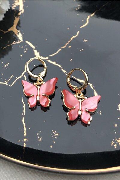 Kadın Gold Pembe Taşlı Kelebek Küpe Çifti